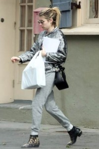 Spotted: Emma Roberts wearing an Isabel Marant for H&M metallic jacket.